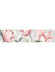 Керамический бордюр 30х7,2 Норфолк Цветы зеленый