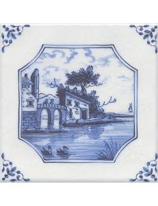 Керамический декор 20х20 Английский Делфт Замок