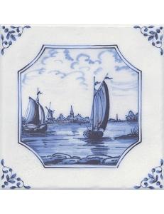 Керамический декор 20х20 Английский Делфт Корабли