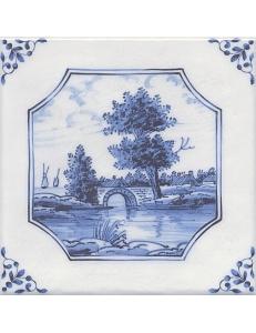 Керамический декор 20х20 Английский Делфт Мост