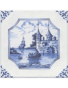 Керамический декор 20х20 Английский Делфт Крепость