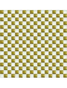 Grand Kerama Мозаика 413 шахматка белый-золото 30х30