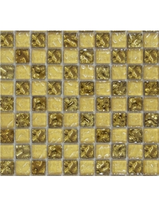 Grand Kerama Мозаика 443 шахматка рельефное золото-золотой песок 30х30
