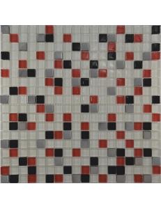 Grand Kerama Мозаика 458 микс белый-красный-черный-платина 30х30