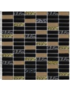 Grand Kerama Мозаика 1084 микс черный-черный рифл.-беж., 300x300