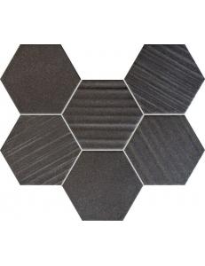 Tubadzin Horizon Black Hex Mozaika 28,9x22,1