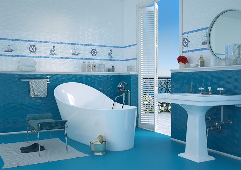 голубая плитка для ванной комнаты Океан