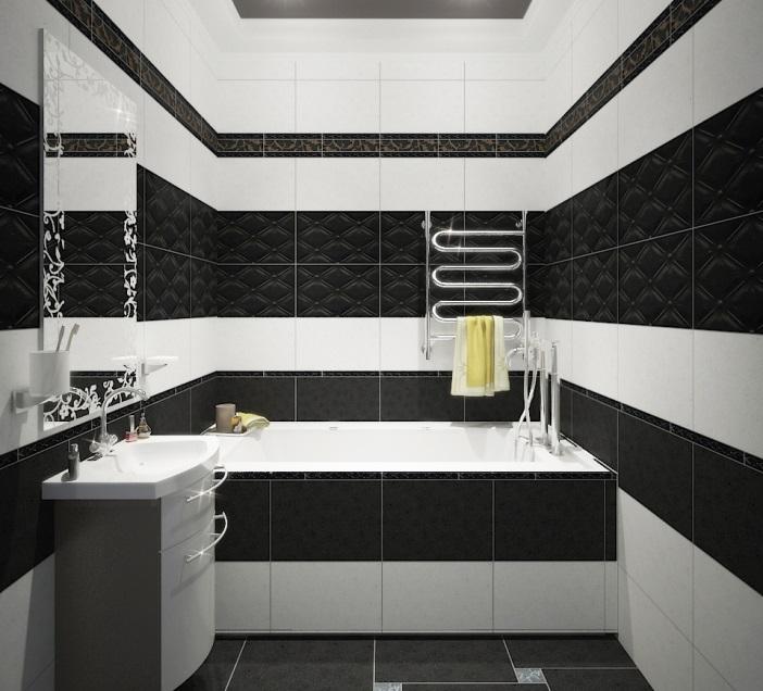 плитка для ванный черно-белых оттенков