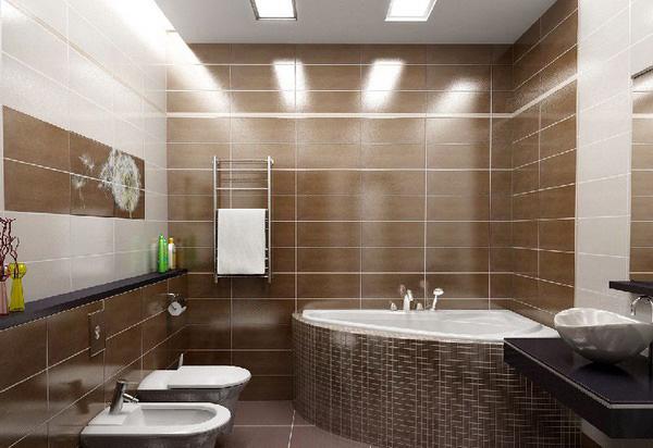 коричневая плитка для ванной комнаты